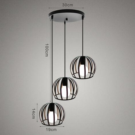 Pendant Light,Retro Vintage Ceiling Light Black Industrial Chandelier Creative Round Hanging Light 3 Lights Pendant Lamp for Cafe Bedroom Bar