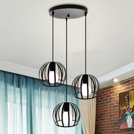 Pendant Light,Retro Vintage Ceiling Light Black Industrial Hanging Lamp Creative Round Hanging Light 3 Lights Pendant Lamp for Cafe Bedroom Kitchen Living Room Bar