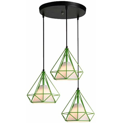 Pendant Lights Industrial Ceiling Fitting Chandelier Lampshade for Home Office Bedroom Living Room Dining Room Coffee Shop,Green