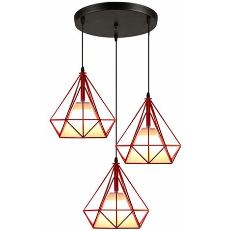 Pendant Lights Industrial Ceiling Fitting Chandelier Lampshade for Home Office Bedroom Living Room Dining Room Coffee Shop,Red