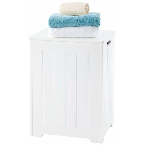 Pendeen Laundry Cabinet // White Scandinavian-inspired Storage Bin for Bathroom or Bedroom