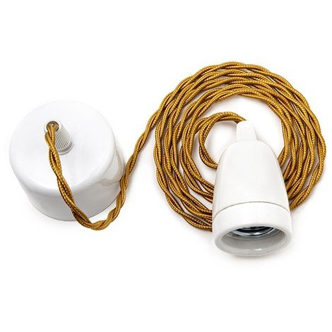 Pendel E27 Cable 1800Mm Whisky 2 X 0,75 Porcelana - Rosetón Blanco [AM-AT307] (AM-AT307)
