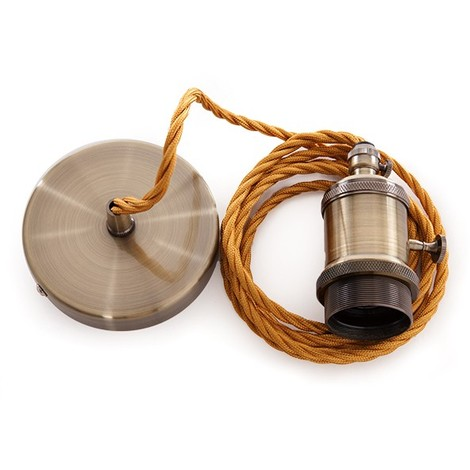 Pendel E27 Cable 2000Mm Trenzado Whisky 3X0,75 Portalámparas - Interruptor Rotativo - Rosetón [AM-AT511] (AM-AT511)