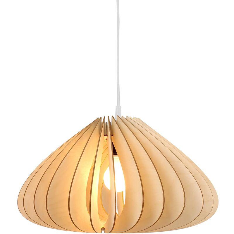 Wodewa - Pendellampe Holz   Luna   Birkenholz Pendelleuchte   Deckenleuchte Deckenlampe Holzlampe Luna - Natur