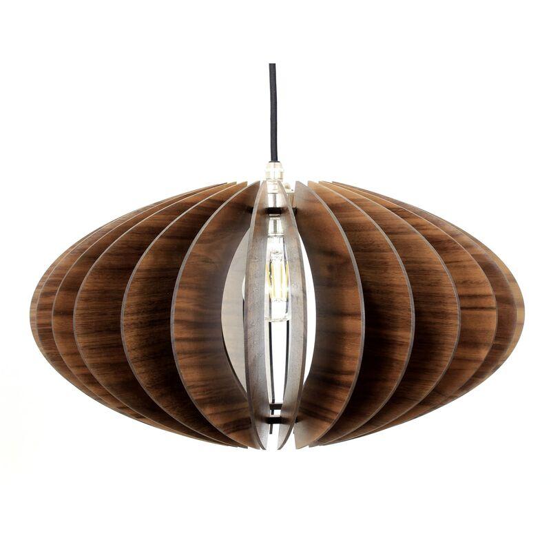 Wodewa - Holz Pendelleuchte Terra Nussbaumholz Pendellampe Deckenleuchte Deckenlampe Holzlampe Terra - Nussbaum