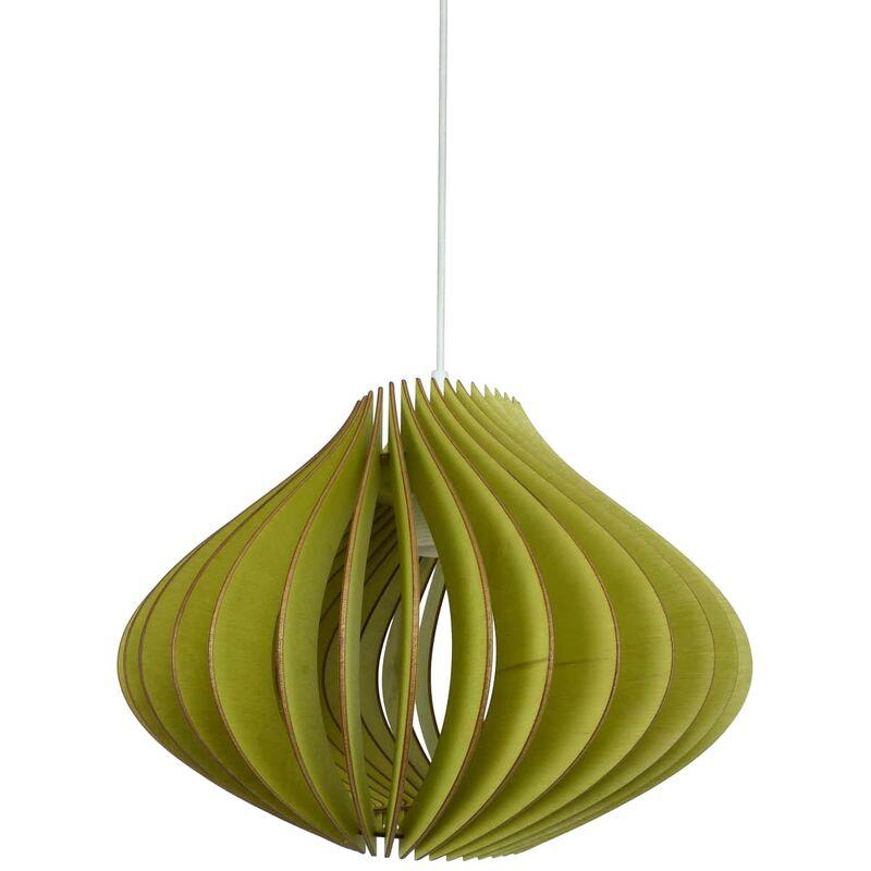 Wodewa - Pendellampe Holz | Ventus | Birkenholz Pendelleuchte | Deckenleuchte Deckenlampe Holzlampe Ventus - Grün