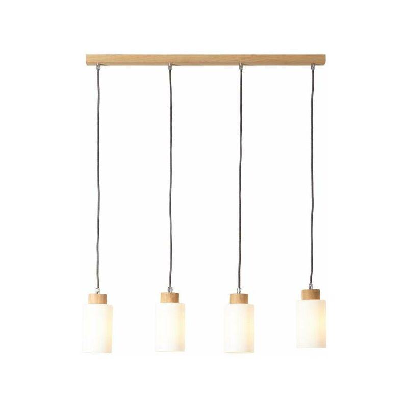 Lightbox - Pendelleuchte, 4-flammig, 4x E27 max. 60W, Holz / Glas, eiche / weiß-'LB00001055'