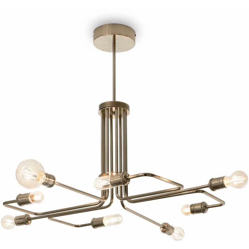 01-ideal Lux - Pendelleuchte Antik Messing TRIUMPH 8 Glühbirnen