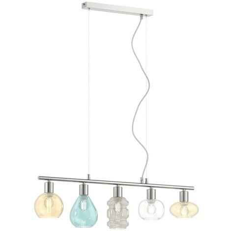 Altmessing Glasschirme B 80cm Pendelleuchten Hängelampe Design Leuchte 3-fl