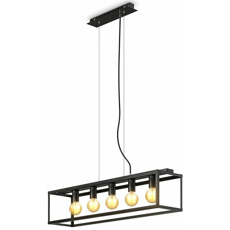 B.k.licht - Pendelleuchte Deckenlampe Retro Vintage schwarz E27 Fassung Esstisch Hängelampe