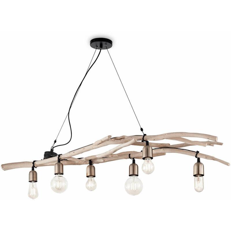 01-ideal Lux - DRIFTWOOD Holz Pendelleuchte 6 Glühbirnen