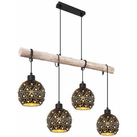 Pendelleuchte Holz Esstischlampe Esszimmer Lampen hängend Vintage Hängeleuchte Holzbalken, Kristalle Höhenverstellbar, 4x E27, L 85 cm, Wohnzimmer