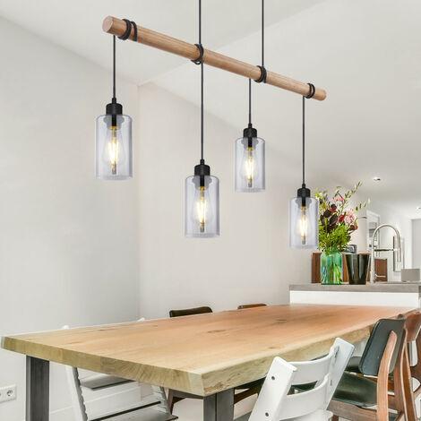 Pendelleuchte Holz Esszimmerlampe Hängeleuchte Holzpendellampe Hängelampe Esstisch, Glas rauch, 4x E27, LxH 98x130 cm, Wohnzimmer
