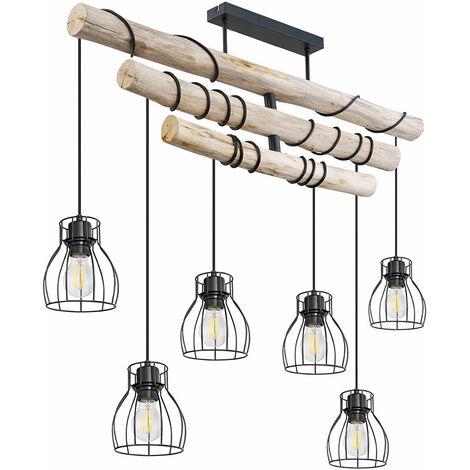 Pendelleuchte Holz Hängeleuchte Vintage Deckenlampe im Balken Design, Metall Käfig schwarz, 6 flammig, LxH 100x100 cm, Esszimmer
