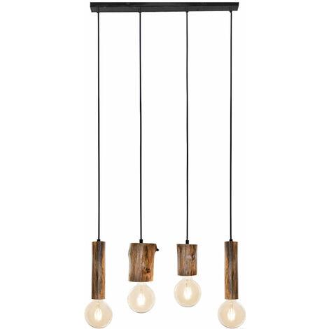 Pendelleuchte Holz Hängeleuchte Vintage Deckenlampe Küchen, Metall schwarz Eukalyptus, 4 flammig, H 150 cm, Esszimmer Wohnzimmer