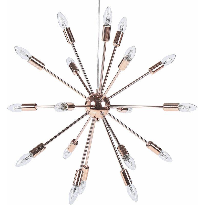 Hängeleuchte Kupfer Metall 18-flammig sternförmiger Schirm Sonnen-Optik Moderner Glamouröser Stil