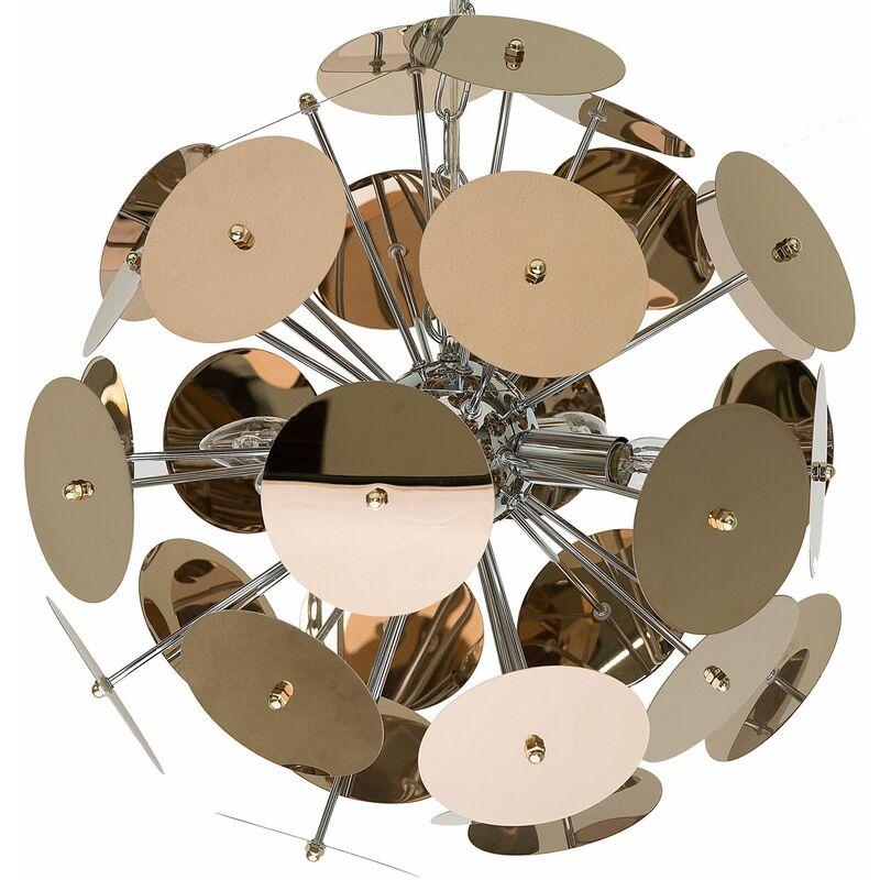 Beliani - Hängeleuchte Kupfer Edelstahl 4-flammig Schirm aus runden Scheiben Industrie Stil