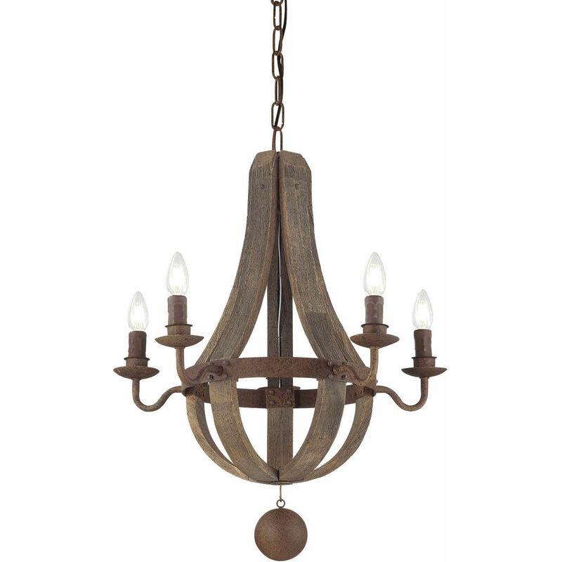 01-ideal Lux - MILLENNIUM Holz Pendelleuchte 5 Glühbirnen