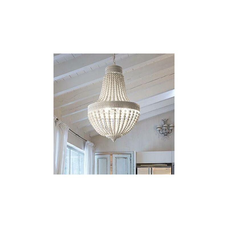 01-ideal Lux - Weiße MONET Pendelleuchte 5 Glühbirnen