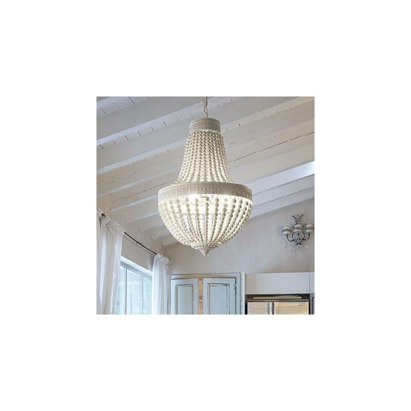 01-ideal Lux - MONET weiße Pendelleuchte 6 Glühbirnen
