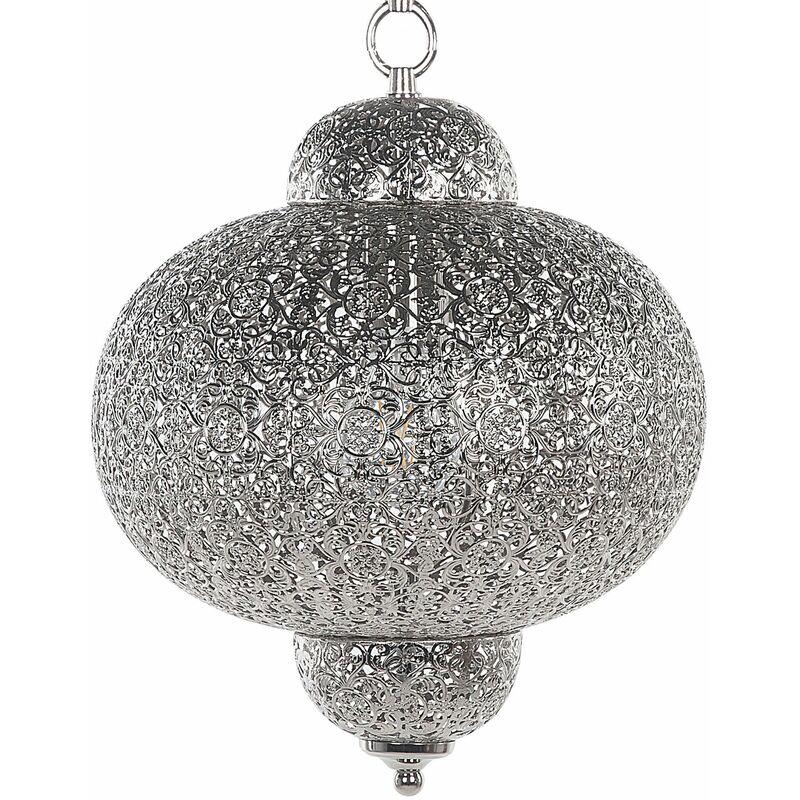 Hängeleuchte Silber Metall marokkanisches Design Glamouröser Stil - BELIANI