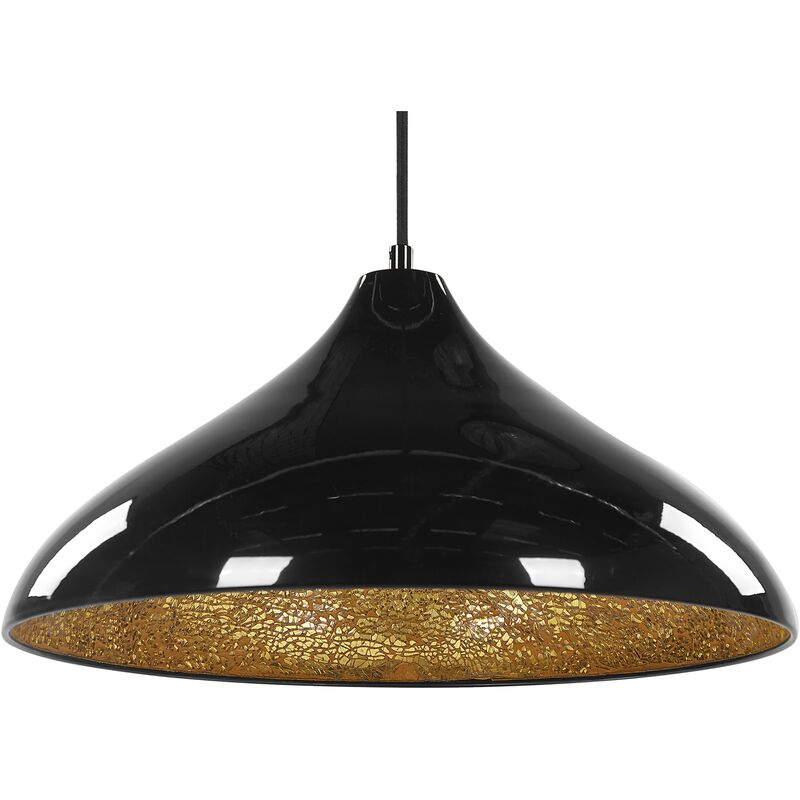 Hängeleuchte Schwarz Glas und Metall mit Schirm in Trichterform Glitzerstein-Optik Moderner Look - BELIANI