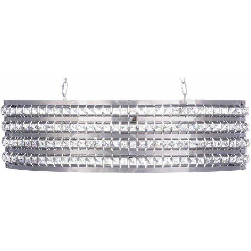 Hängeleuchte Silber Metall 2-flammig ovaler Schirm mit Kristallen aus Acrylglas Moderner Glamouröser Stil für Wohn- Schlaf- und Esszimmer - BELIANI