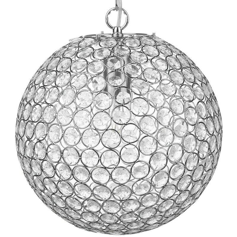 Beliani - Hängeleuchte Silber Metall Schirm in Kugelform mit Kristallen aus Acrylglas Moderner Glamouröser Stil