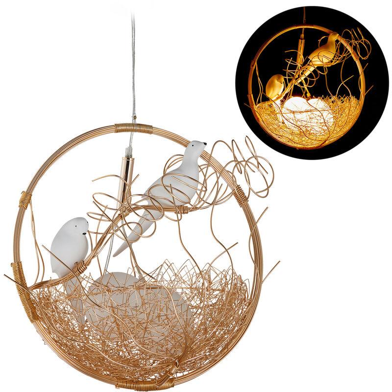 Relaxdays - Pendelleuchte Vogelnest, 2 Vögel, für Esszimmer, 2-flammig, G9 Hängelampe, Metall/Glas, HBT 135x46x40 cm, gold