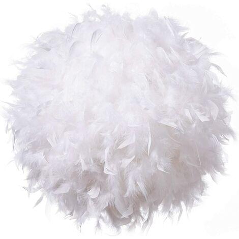 Pendentif abat-jour à plumes blanches pour plafond, abat-jour non électrique avec bague de réduction d'ombre pour salle de séjour, salle à manger 30 cm