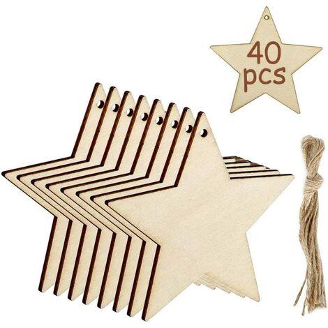 Pendentifs de Décoration D'étoiles en Bois de 40 Pièces, Ornements Suspendus de la Saint-Valentin Étiquettes de Peinture Vierges avec de la Ficelle pour les Embellissements de Mariage de Bricolage