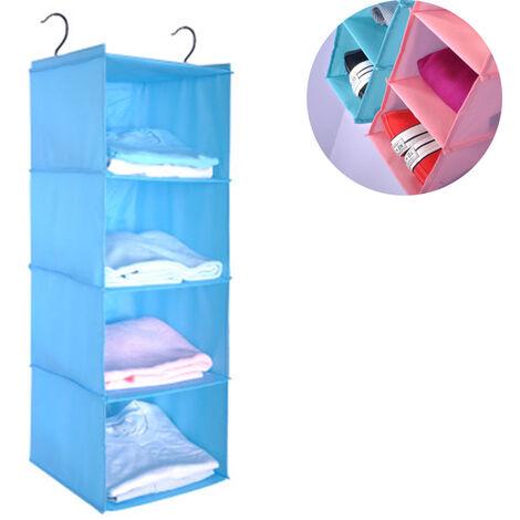 Penderie à étagère suspendue, 4 compartiments organisateur d'armoire de camping en coton de haute qualité suspendu avec système de rangement pour organisateur à cadre en fer, bleu