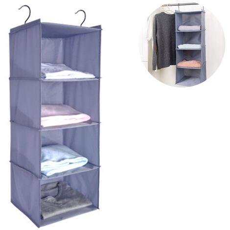 Penderie à étagère suspendue, 4 compartiments Organisateur d'armoire de camping en coton de haute qualité suspendu avec système de rangement pour organisateur à cadre en fer, gris