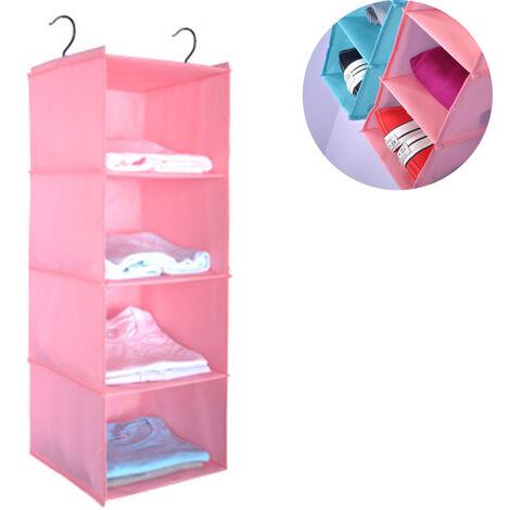 Penderie à étagère suspendue, 4 compartiments organisateur d'armoire de camping en coton de haute qualité suspendu avec système de rangement pour organisateur à cadre en fer, rose