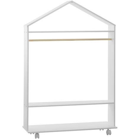 Penderie à roulettes enfant Douceur - L. 80 x H. 120 cm - Blanc - Blanc