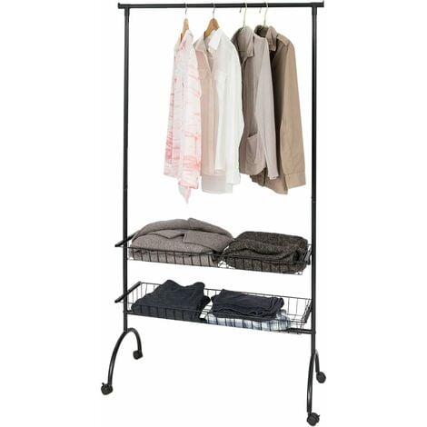Penderie à vêtement roulante Portant à vêtements avec 2 paniers amovibles SoBuy® FRG243-Sch