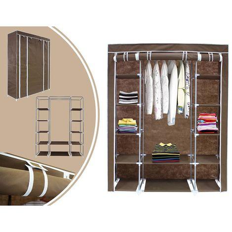 Penderie, Armoire, 3 portes, 172 x 134 x 43 cm, Marron, Poids: 3 kg