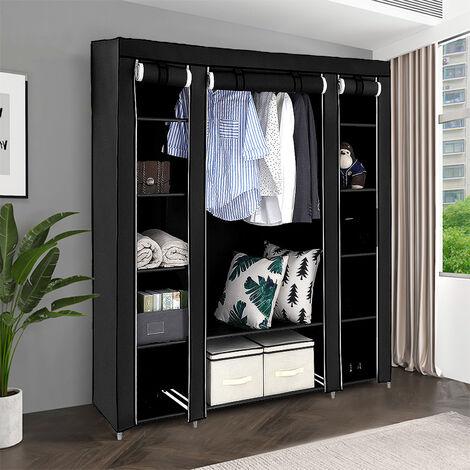 Penderie, Armoire, 3 portes, 172 x 134 x 43 cm, Noir, Materiau: Tubes en acier inoxydable, Connecteurs de tuyaux en plastique
