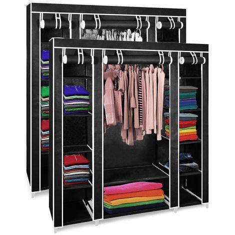 Penderie, Armoire, 3 portes, 172 x 134 x 43 cm, Noir, Pack de 2, Poids: 3 kg