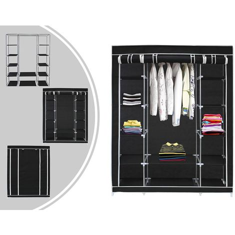 Penderie, Armoire, 3 portes, 172 x 134 x 43 cm, Noir, Poids: 3 kg