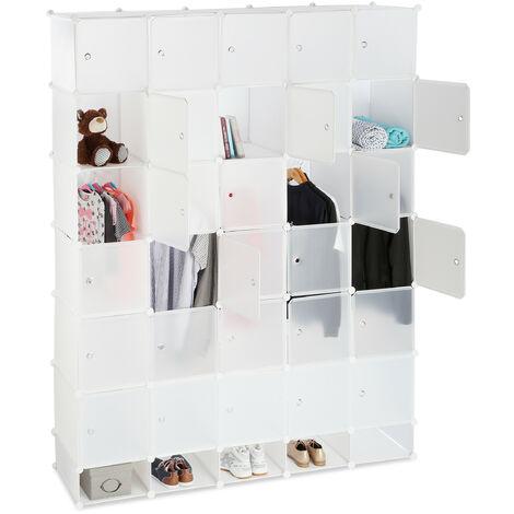 Penderie armoire cubes étagère rangement 25 casiers plastique modulable DIY bibliothèque Hxl 234x180 cm, blanc
