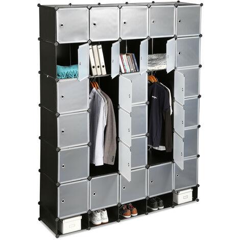 Penderie armoire cubes étagère rangement 25 casiers plastique modulable DIY bibliothèque Hxl 234x180 cm, noir