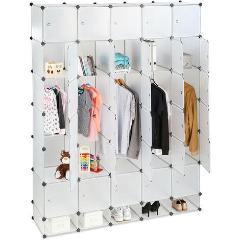 Penderie armoire cubes étagère rangement 25 casiers plastique modulable DIY Hxl 234x180 cm, transparent