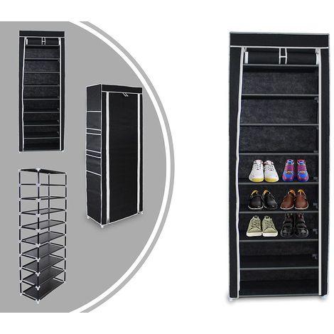 Penderie, Armoire, Placard à chaussures, 6 poches latérales, 160 x 58 x 28 cm, Noir, Poids: 3 kg