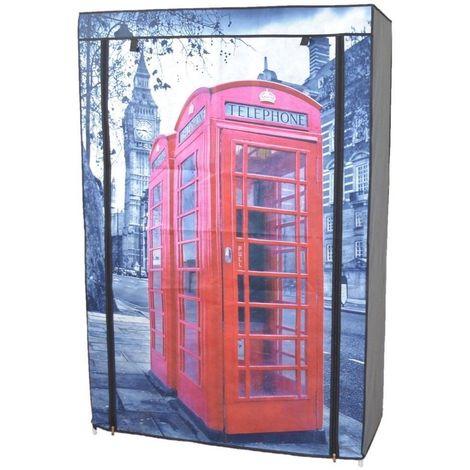 Penderie commode en tissu avec étagères et tringle Londres