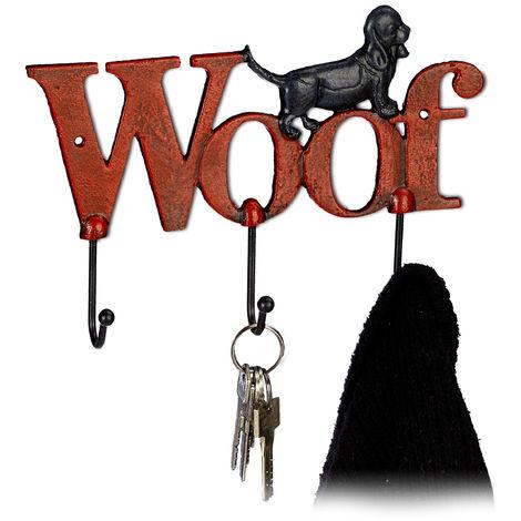 Penderie murale, 3 crochets, chien et écriture woof, fonte de fer, montage mural, 17,5x25,5x4 cm, rouge/noir