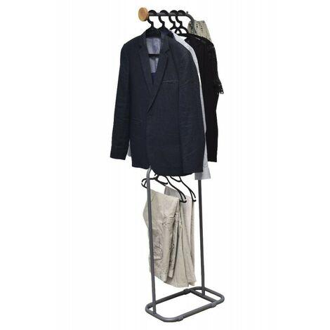Penderie/portant en métal et bois 2 niveaux gris et naturel - Gris