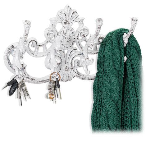 Penderie vintage, 4 crochets pour vêtements, style campagnard, fonte de fer, HxlxP: 20,5 x 34 x 12,5 cm, choix de couleurs
