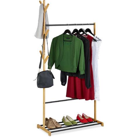 Penderies en bambou et métal, tringles et support chaussures, 6 crochets, HlP: 168 x 80 x 38 cm, nature/noire