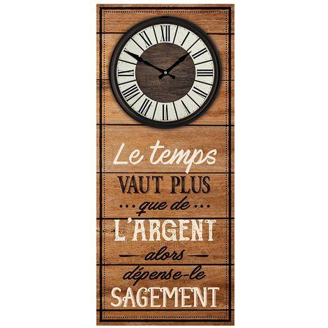 Pendule murale rectangulaire Le temps vaut plus - 30 x 70 cm - Marron - Marron